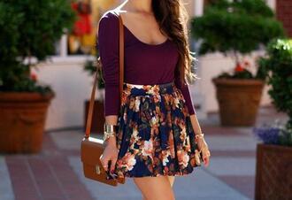 skirt cute mini purple flowers bag shirt