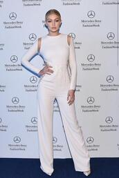 jumpsuit,gigi hadid,white,pumps,fashion week 2015,shoes