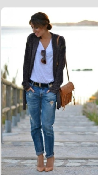 casual cardigan slouchy cardigan ripped boyfriend jeans white tank effortless style