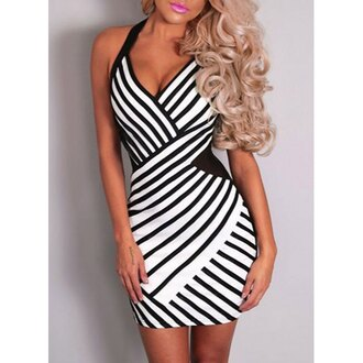 dress black and white fashion style trendy hot party clothes black white summer rose wholesale-jan