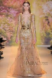 luxury dresses,sheer evening dresses,formal dress,prom dress,prom gowns,2014,2015,zuhair merad,long sleeves,gold,dress
