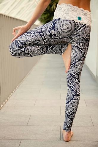 pants lace up tribal leggings leggings lace waist paisley lace lace detailing blue navy love yoga pattern leggings pattern yoga pants boho pattern pants workout pants lace yoga pants boho yoga pants workout workout leggings pattern boho chic