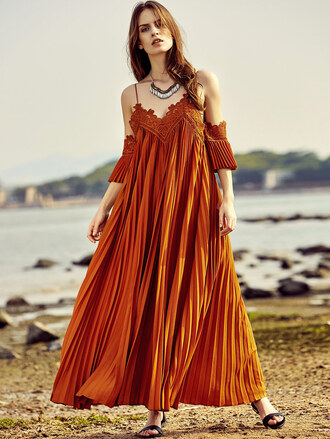 dress orange brown style maxi maxi dress fashion pretty cute hot cool fashionista stylish long long dress