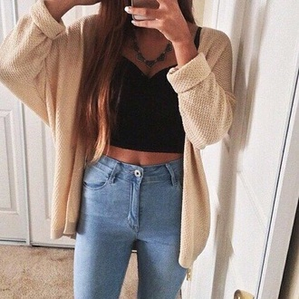 top jeans love outfit cardigan tank top crop tops pants style instagram tumblr outfit