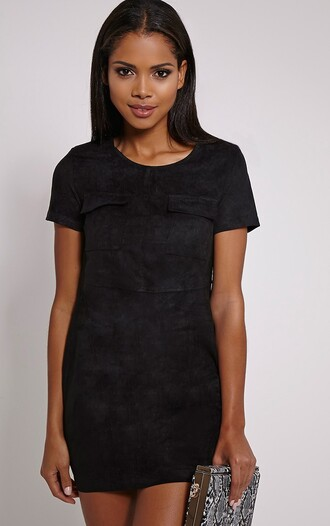 dress suede black summer cute pockets short sleeve mini dress
