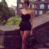 shoes,bag,sunglasses,jewels,black,gold,jumpsuit,romper,pants,dress,cute,pretty,clothes,outfit,totally awesome,one piece,strapless,sweetheart,mini dress,shorts,fashion,glasses,black high heels,high heels,peplum playsuit,peplum,black playsuit,strapless playsuit,kenza,shirt,top,sleek,classy,high ponytail,black purse,cute outfits,overalls,black jumpsuit,black romper,short,tight,party,party dress,slim