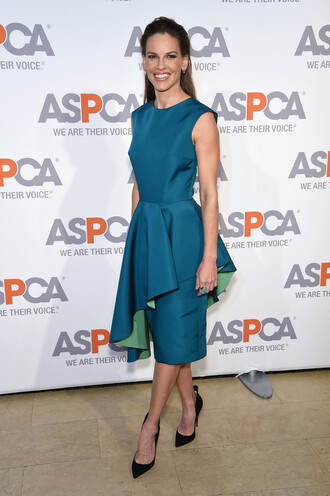 dress midi dress asymmetrical hilary swank pumps shoes
