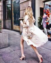 coat,tumblr,pink coat,dusty pink,pumps,high heel pumps,pointed toe pumps,bag,nude bag,spring outfits