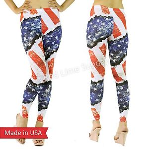 American US Flag Red Blue Stars n Stripes Weathered Print Leggings Tights Pants