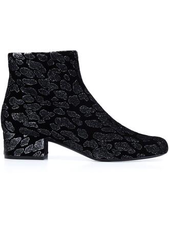 jacquard boots print leopard print black shoes