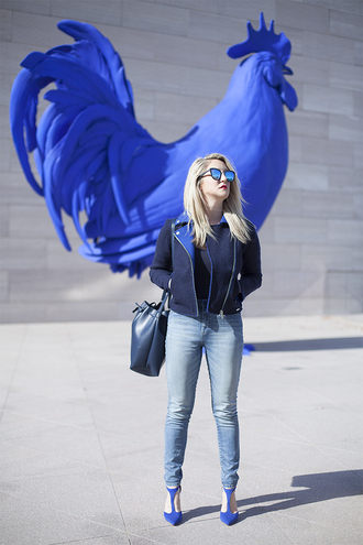 a lacey perspective - a fashion blog based in our nation's capital. blogger jeans jacket bag shoes sunglasses bucket bag blue heels high heel pumps