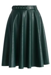 chicwish,faux leather midi skirt,belted dark green midi skirt