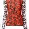 Kenzo - floral leaf top - women - polyester/spandex/elastane - l, red, polyester/spandex/elastane