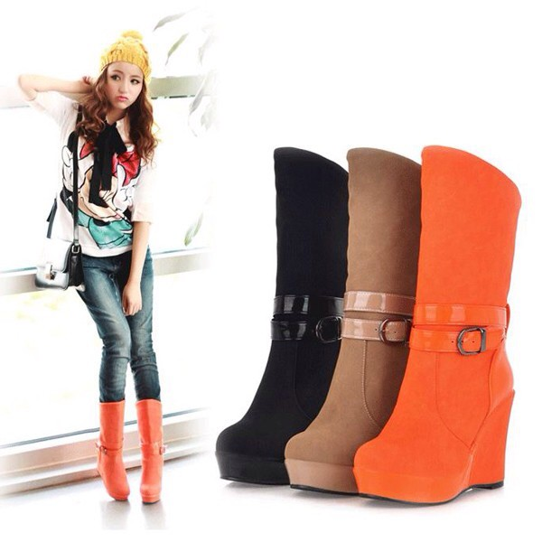 black orange beige boots high heels wedge booties