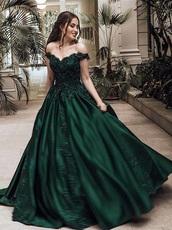 dress,dark green dress,forest green,prom dress,prom,prom gown,green,green dress,off the shoulder,off the shoulder dress