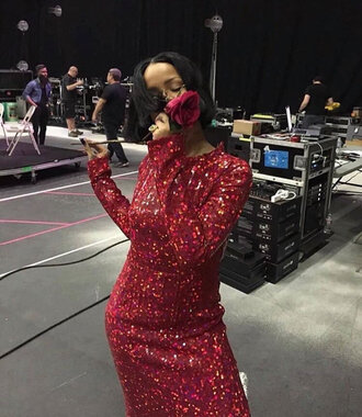 dress grammys 2016 rihanna red dress sequins