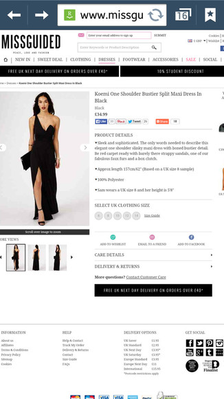 dress one shoulder black missguided split dress split koemi maxi dress bustier
