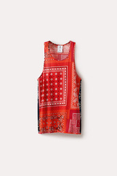 tank top,bandan tee,bandana,red bandana,red,bandana print,paisley,shirt,skirt