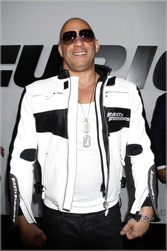 jacket vin diesel fast and furious 7 fashion mens jacket movie premiere premiere furious 7 white jacket black and white leather outfit replica outfit outwear hollywood