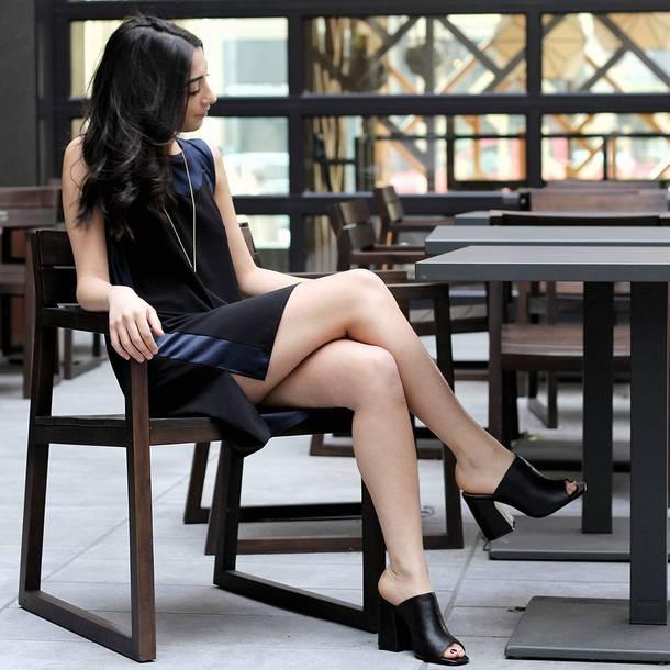 shoes Jaggar mules high heels heels black shoes dress mini dress slit dress black dress sleeveless sleeveless dress
