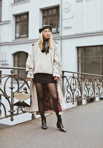 coat tumblr white coat trench coat oversized oversized coat skirt mini skirt black skirt tights boots black boots ankle boots beret hat bag sweater white sweater