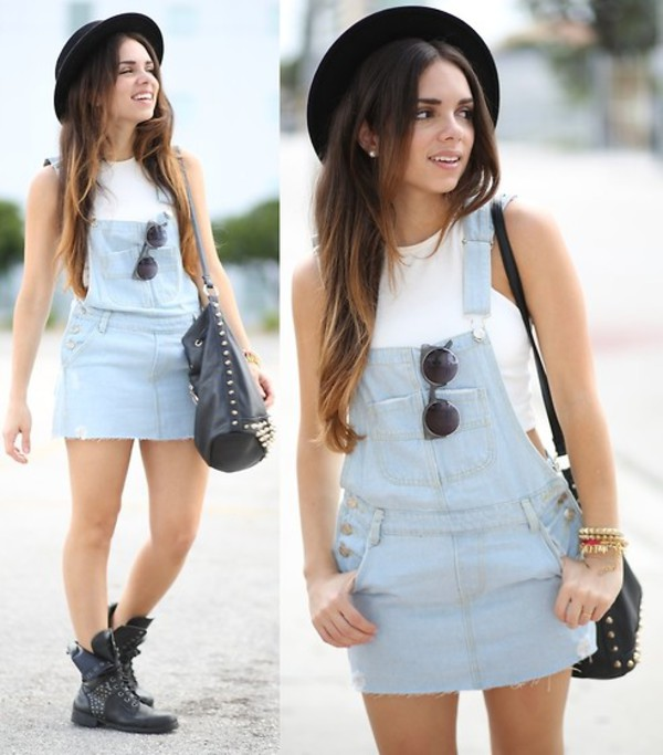 jumpsuit sunglasses dungarees hat