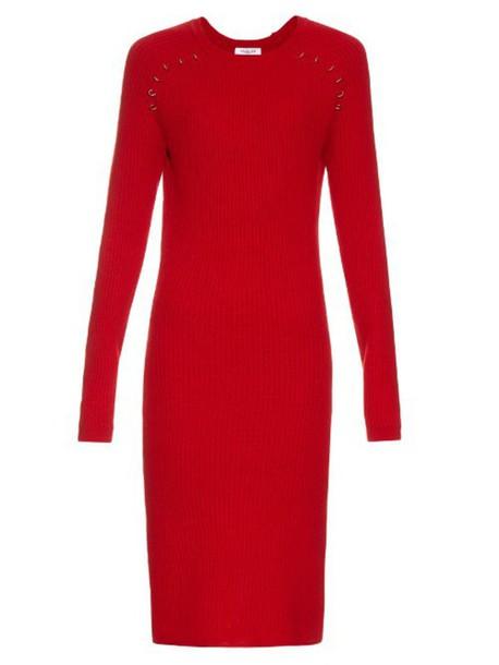 MUGLER Long-sleeved ribbed-knit midi dress in red