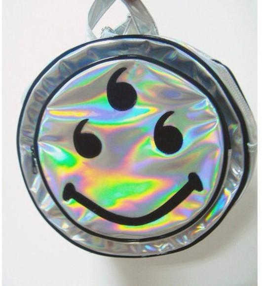 smiley face bag backpack holographic