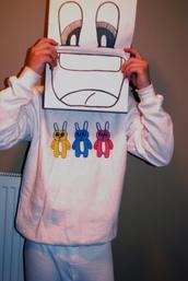 sweater,jumper,white,bunny