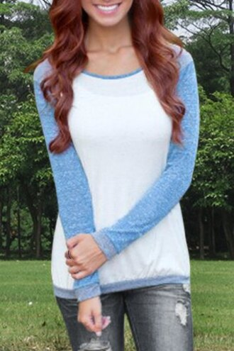 sweater blue white fashion style casual trendy sporty cute long sleeves back to school sportswear summer cozy clothes baseball tee stylish