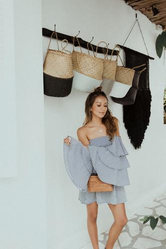 dress tumblr grey dress bell sleeve dress off the shoulder off the shoulder dress mini dress ruffle bag