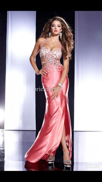 dress pink pink dress prom dress long prom dress white dress sequins sequin dress cut-out dress