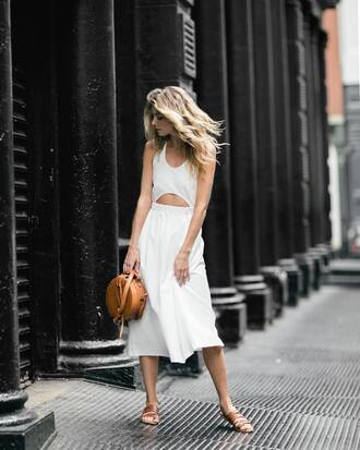 dress tumblr midi dress white dress cut-out shoes slide shoes flats bag brown bag round bag