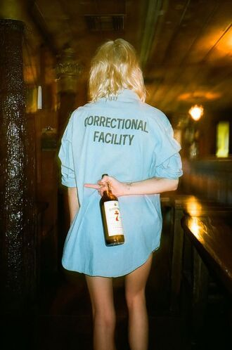 blouse shirt blue print correctional facility vintage
