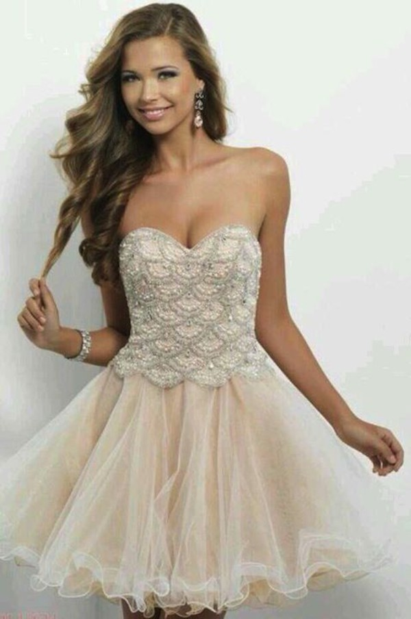 dress scalloped dress sweetheart neckline tulle skirt short prom dress champagne dress