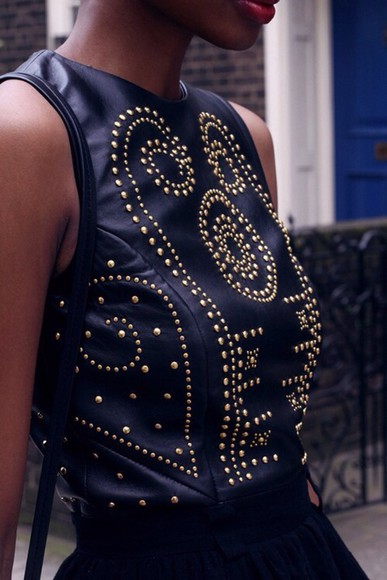 studs leather top