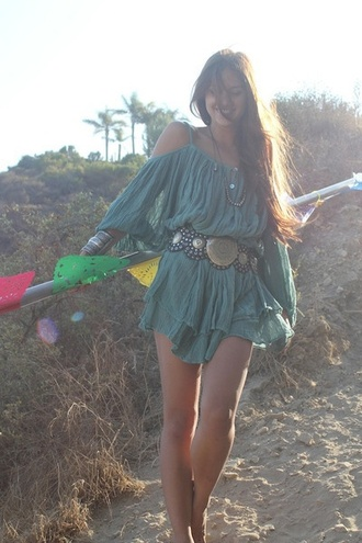 dress clothes dress clothes hippie gypsy off the shoulder dress turquoise loose dress
