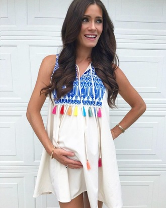 book of leisure blogger shoes dress cardigan white top colorful maternity maternity dress mini dress white dress embroidered tassel
