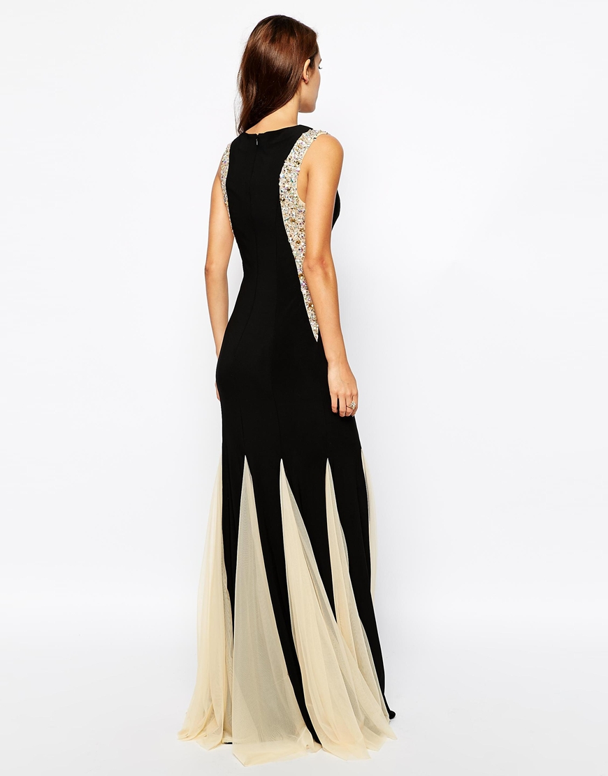 Forever Unique Embellished Maxi Dress with Contrast Pleat Skirt at asos.com