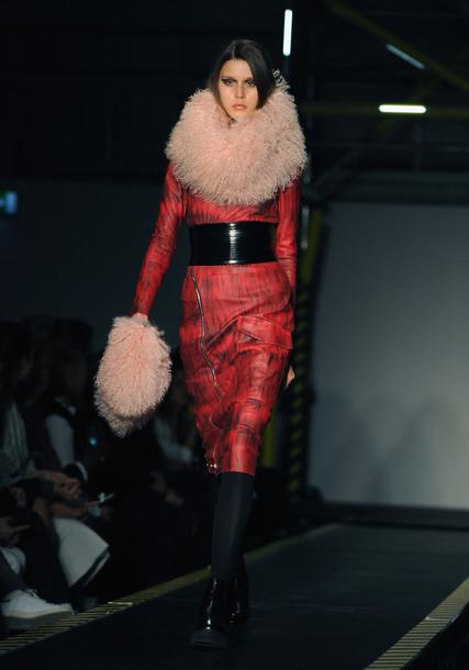coat fur fashion week 2015 leather jacket