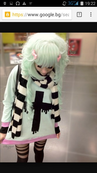 sweater blouse cute pastel pastel goth cross mint kawaii pink scarf
