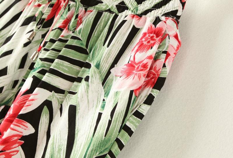 Black Drawstring Waist Leaves Flower Print Pant - Sheinside.com