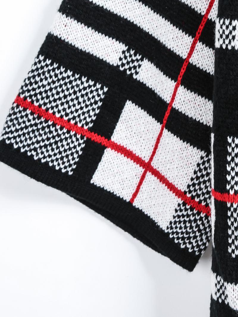 Black half sleeve plaid knit cardigan