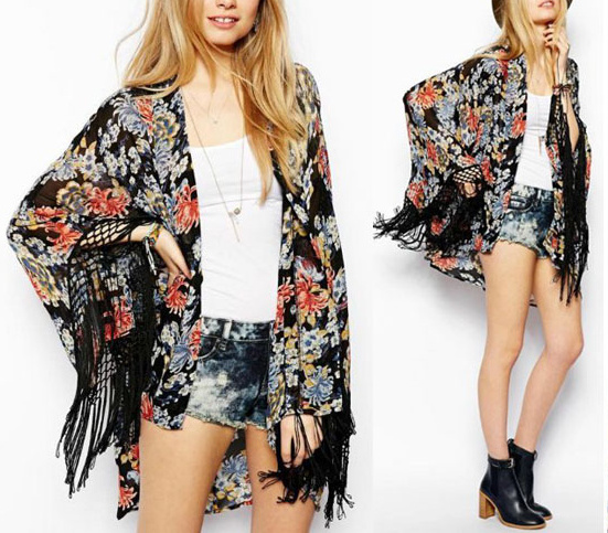 Gypsy love floral fringe kimono · fashion struck · online store powered by storenvy