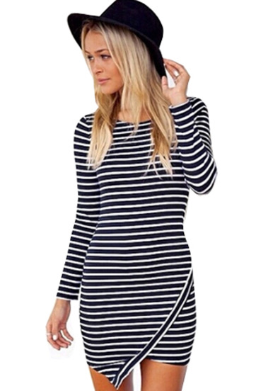 Black long sleeve slim striped bodycon dress