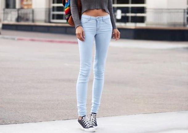 jeans light blue skinny jeans high top sneakers