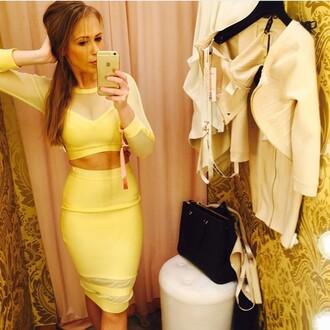 dress bandage dress two piece dresws mesh dress long sleeve dress yellow bandage dress