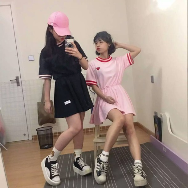 Dress Sporty Dress Sportswear Casual Dress Comfortable Dress Kawaii Dress Pink Dress