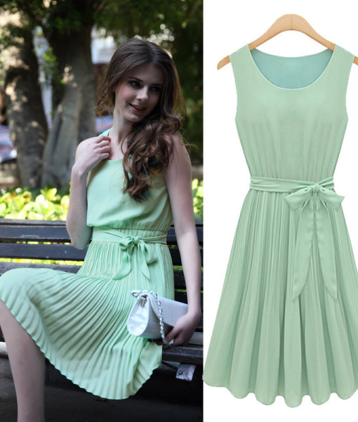 2014 New Summer Casual Women Elegance Bow Pleated Chiffon Vest Dresses Sleeveless Dress Vestidos, Green, Brown, S, M, L, XL | Amazing Shoes UK