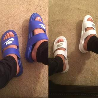 shoes nike nike shoes blue white blue shoes white shoes sandals open toes cute shoes summer shoes